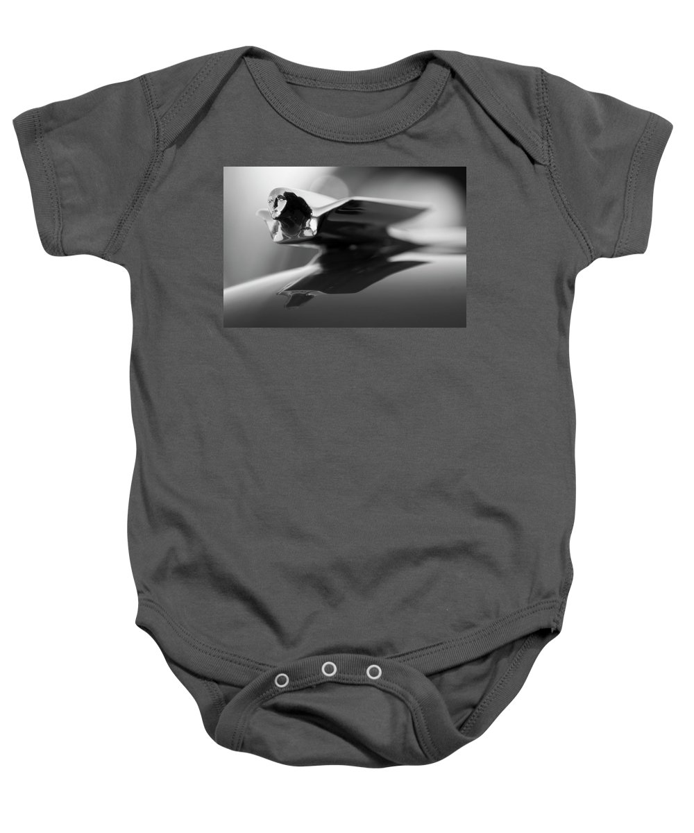 1947 Cadillac Baby Onesie featuring the photograph 1947 Cadillac Hood Ornament 2 by Jill Reger