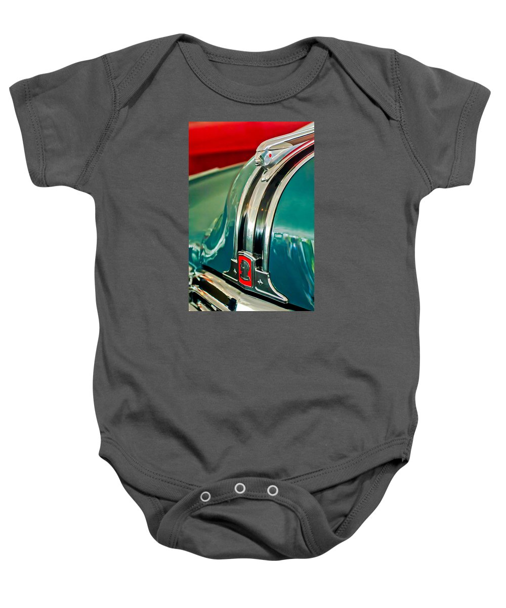 1948 Pontiac Hood Ornament Baby Onesie featuring the photograph 1948 Pontiac Streamliner Woody Wagon Hood Ornament by Jill Reger