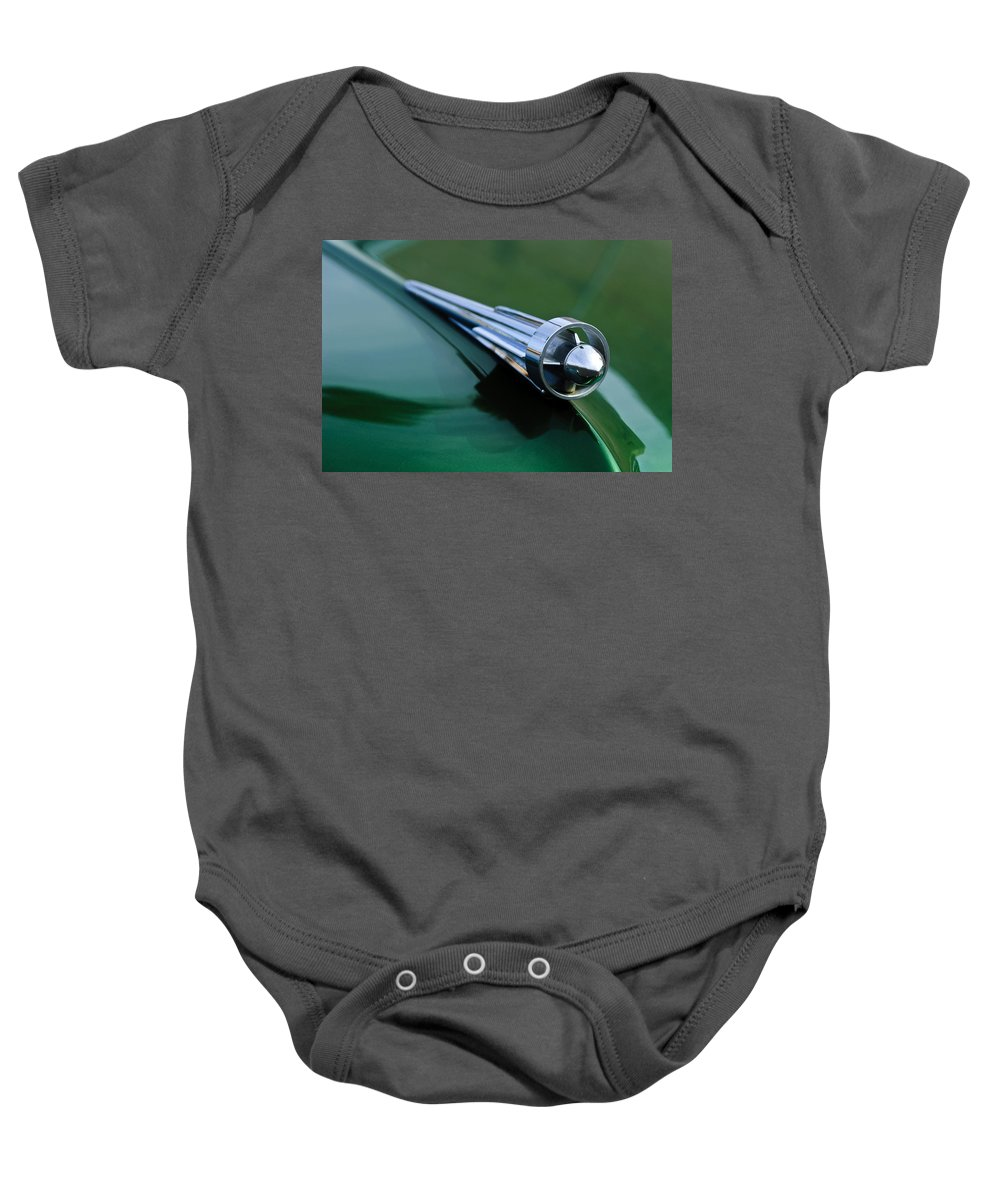 1949 Studebaker Champion Baby Onesie featuring the photograph 1949 Studebaker Champion Hood Ornament 2 by Jill Reger