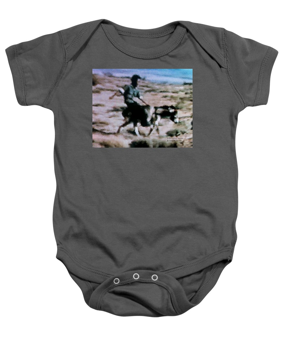 Expressive Baby Onesie featuring the digital art 1950's - Having A Blast by Lenore Senior