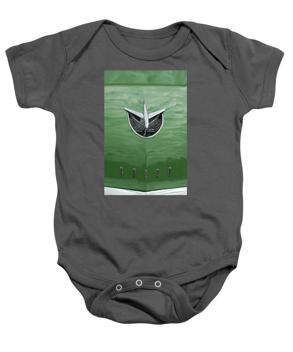 1956 Buick Riviera Baby Onesie featuring the photograph 1956 Buick Hood Ornament by Jill Reger