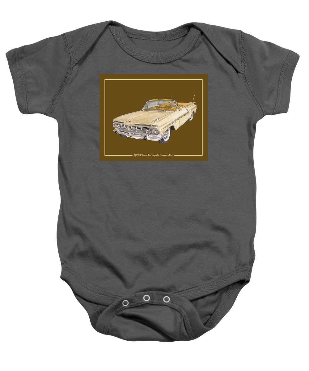 History Of The 1959-1960 Chevrolet Impala Baby Onesie featuring the painting 1959 Chevrolet Impala Convertible by Jack Pumphrey