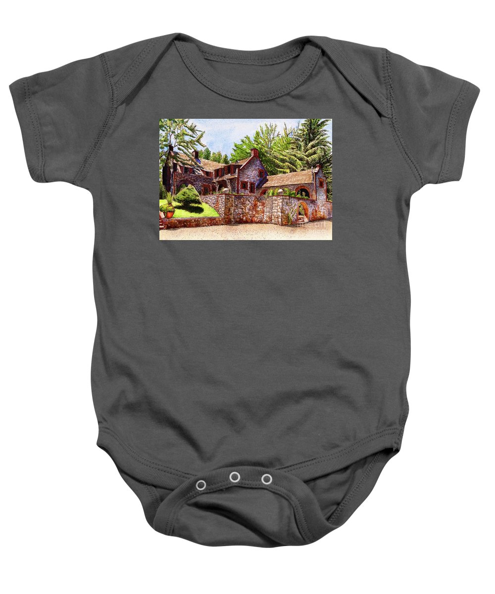 Empire Mine Baby Onesie featuring the painting #196 Bourn Cottage by William Lum