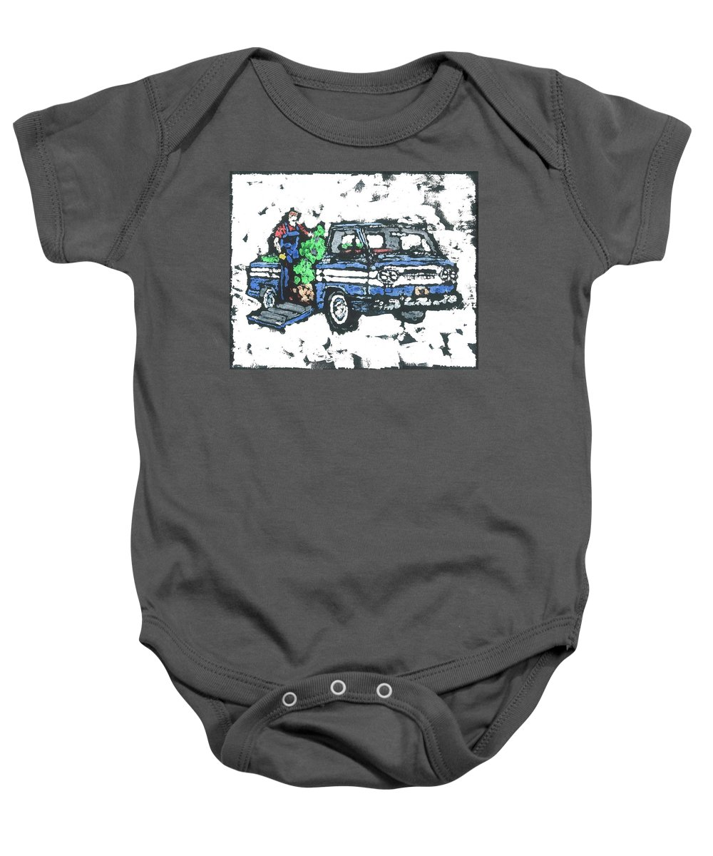 Corvair Baby Onesie featuring the painting 1962 Corvan by Dick Gallagher
