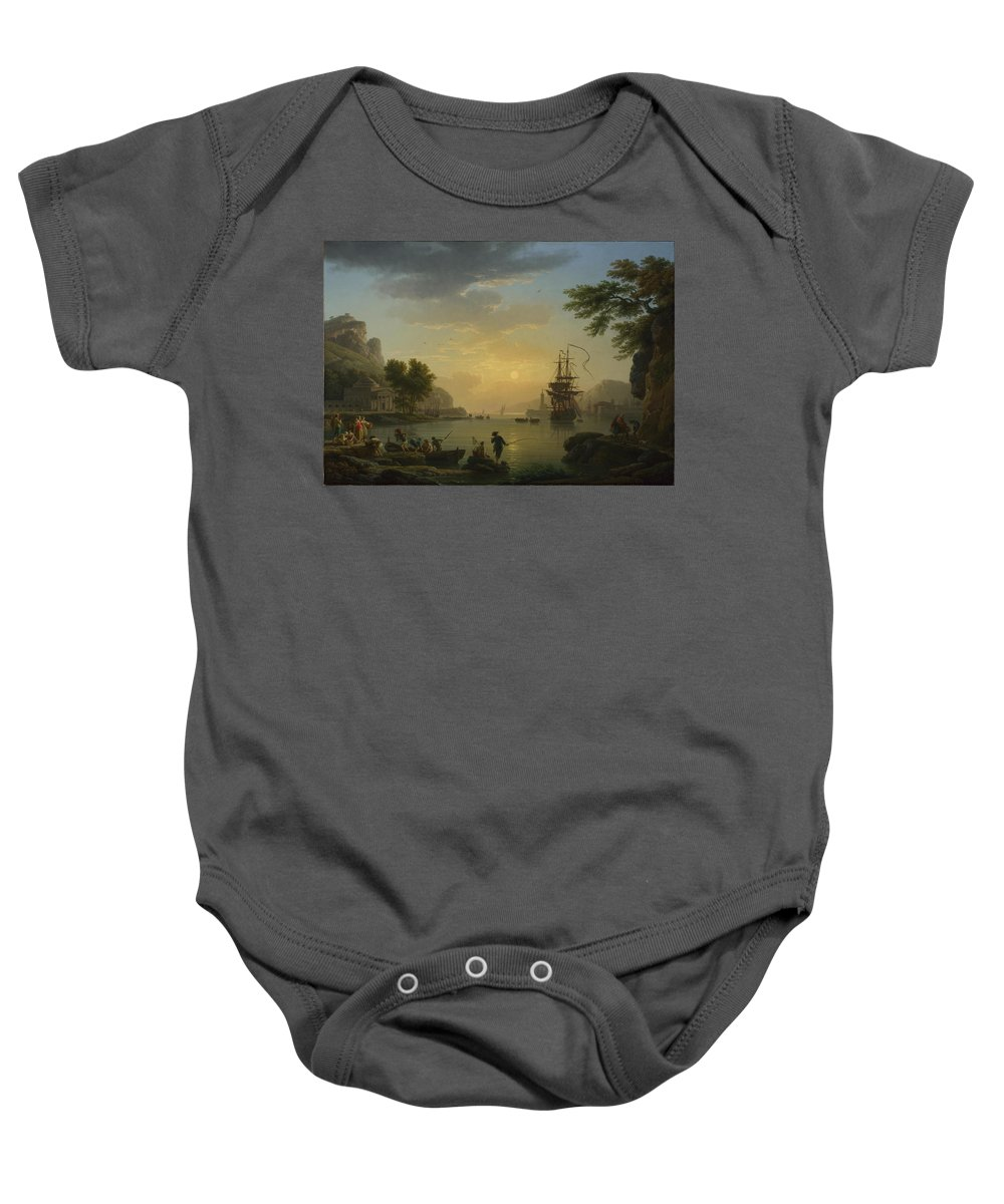 Age Baby Onesie featuring the painting A Landscape At Sunset by Claude-Joseph Vernet