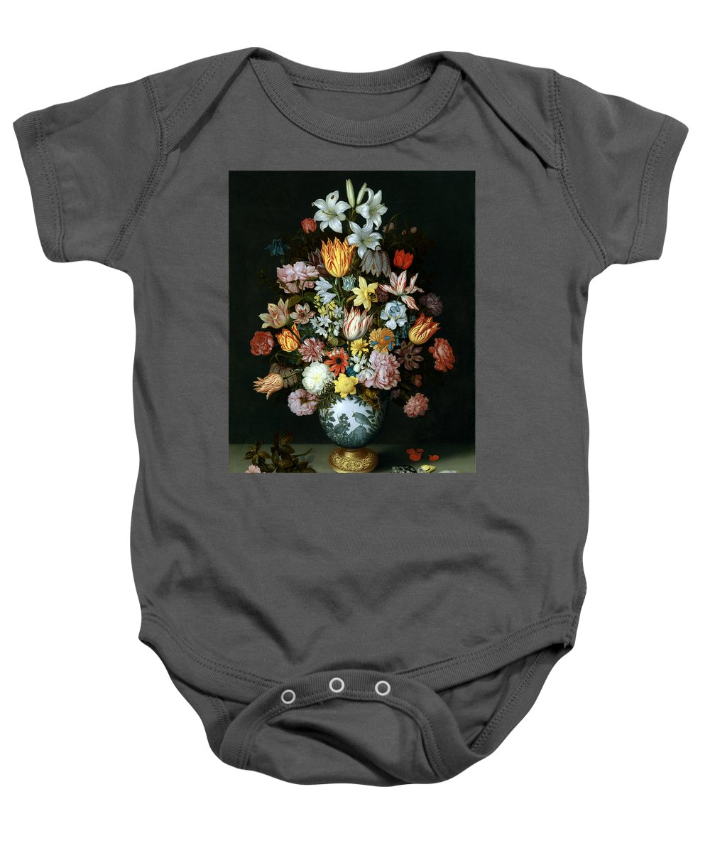 Ambrosius Bosschaert The Elder - A Still Life Of Flowers Baby Onesie featuring the painting A Still Life Of Flowers by MotionAge Designs