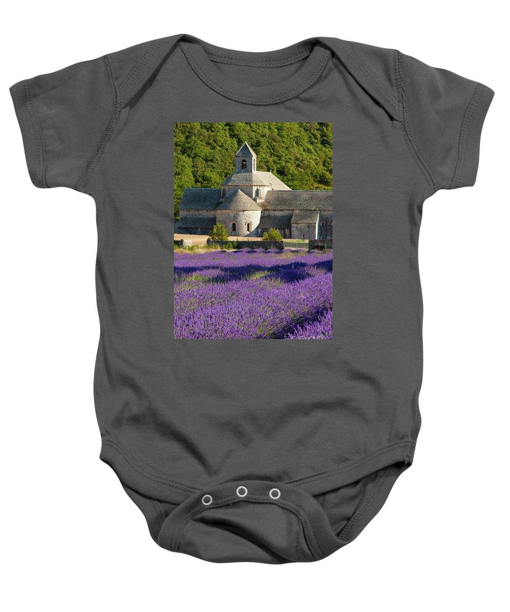 Abbaye De Senanque Baby Onesie featuring the photograph Abbaye De Senanque by Brian Jannsen