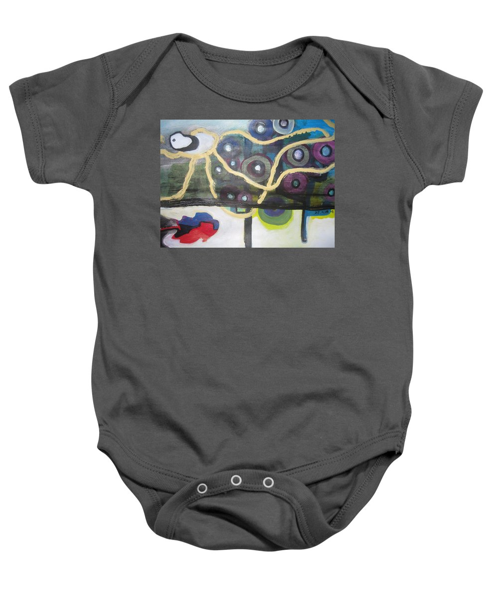 Abstract Contemporary Apple Tree Sun Plant Outdoor Blue Baby Onesie featuring the painting Apple Trees by Seon-Jeong Kim