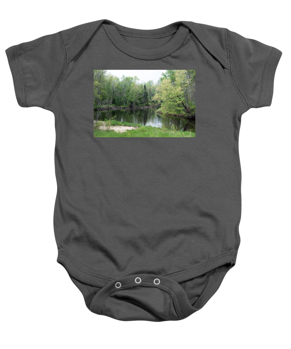 River Baby Onesie featuring the photograph At The River by Linda Kerkau