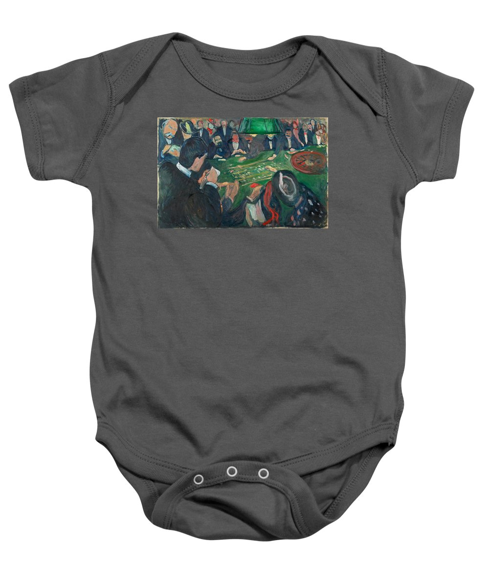 Edvard Munch Baby Onesie featuring the painting At The Roulette Table In Monte Carlo by Edvard Munch
