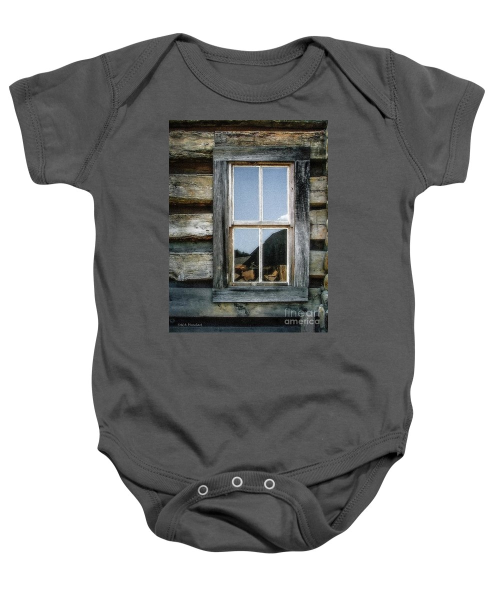 Log Cabin Baby Onesie featuring the photograph Cabin Window by Todd Blanchard