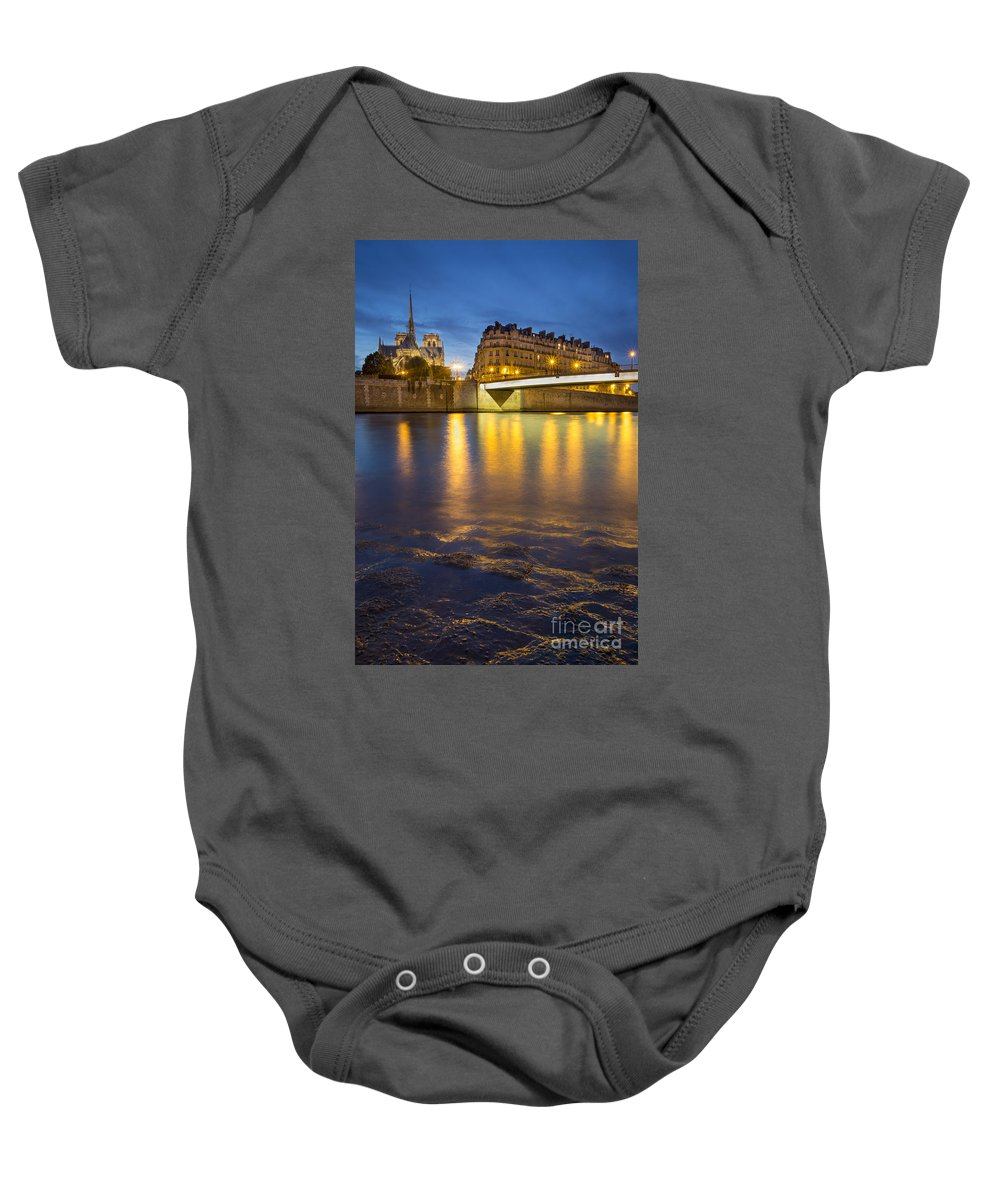 Architecture Baby Onesie featuring the photograph Cathedral Notre Dame - Paris by Brian Jannsen