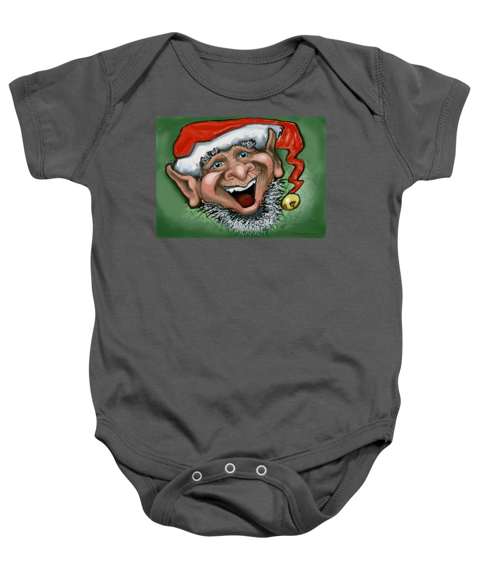 Christmas Baby Onesie featuring the greeting card Christmas Elf by Kevin Middleton