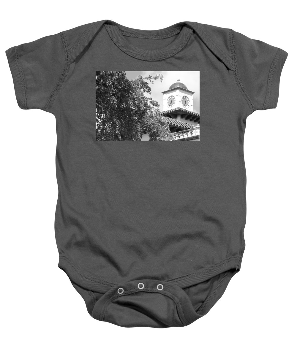 Clock Baby Onesie featuring the photograph Clock Tower by Rob Hans