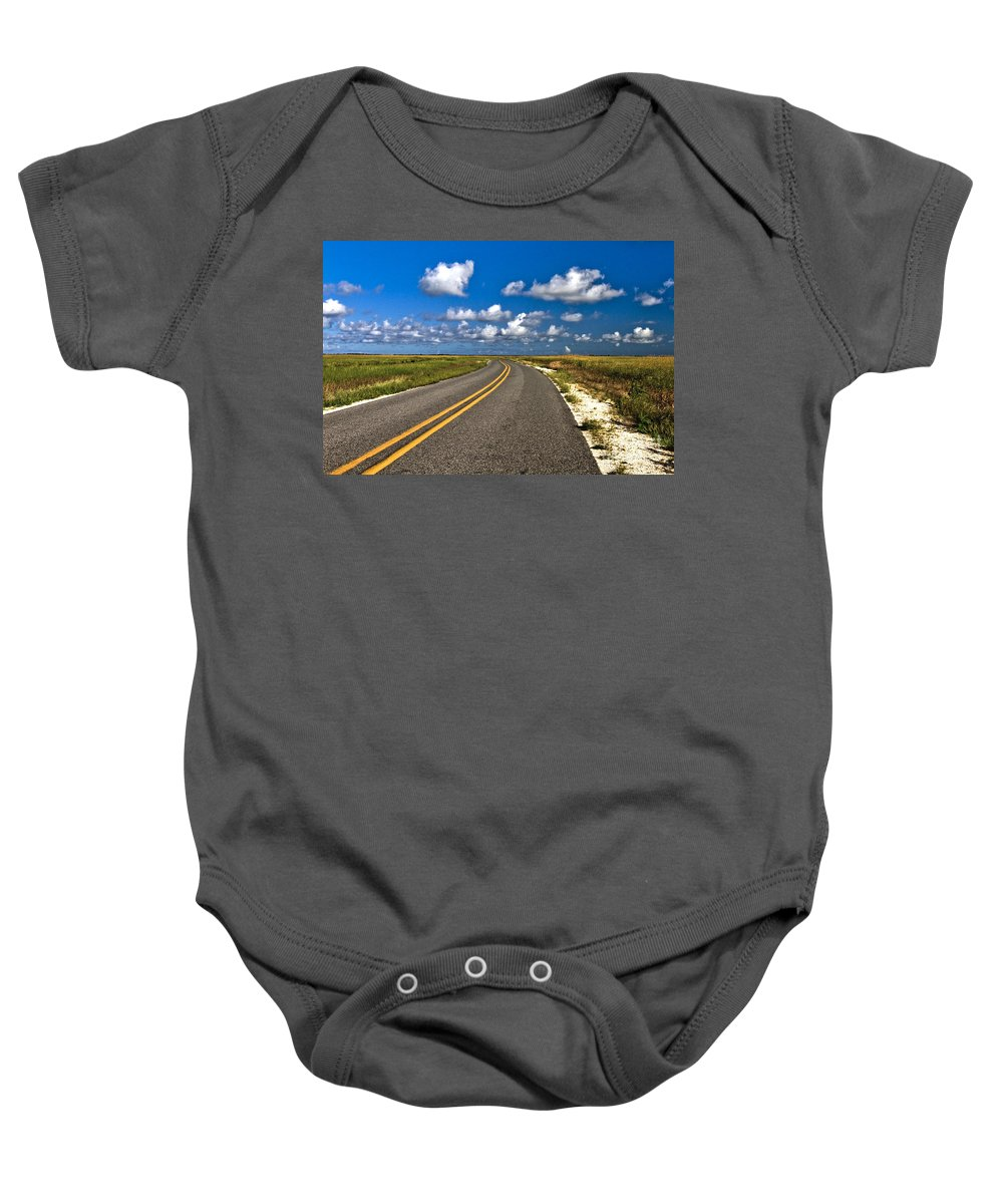 Road Baby Onesie featuring the photograph Cocodrie Highway by Scott Pellegrin