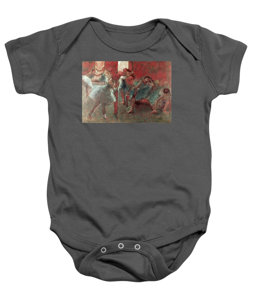 Dancers At Rehearsal Baby Onesie featuring the pastel Dancers At Rehearsal by Edgar Degas