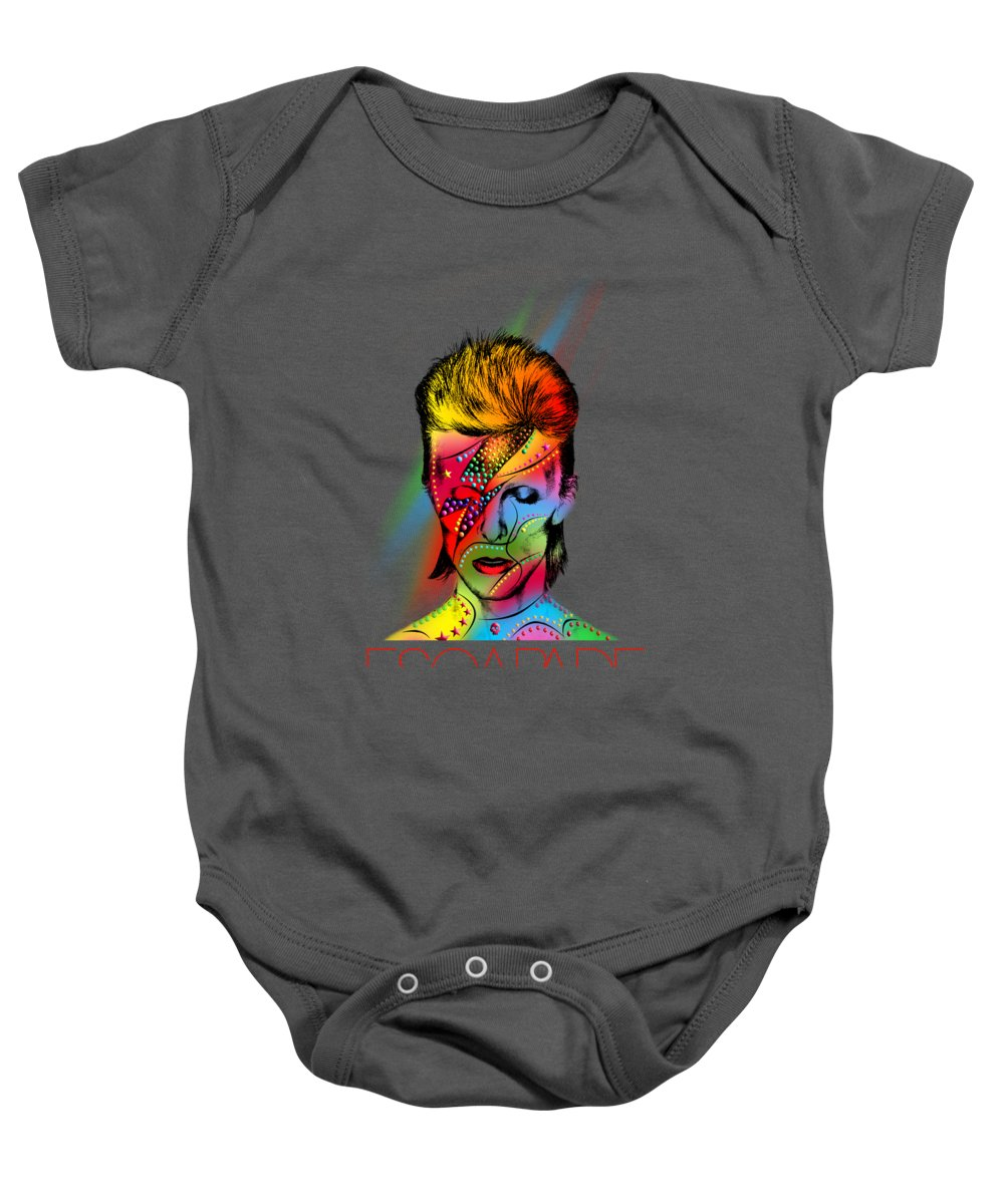 Baby Onesie featuring the photograph David Bowie 2 by Mark Ashkenazi
