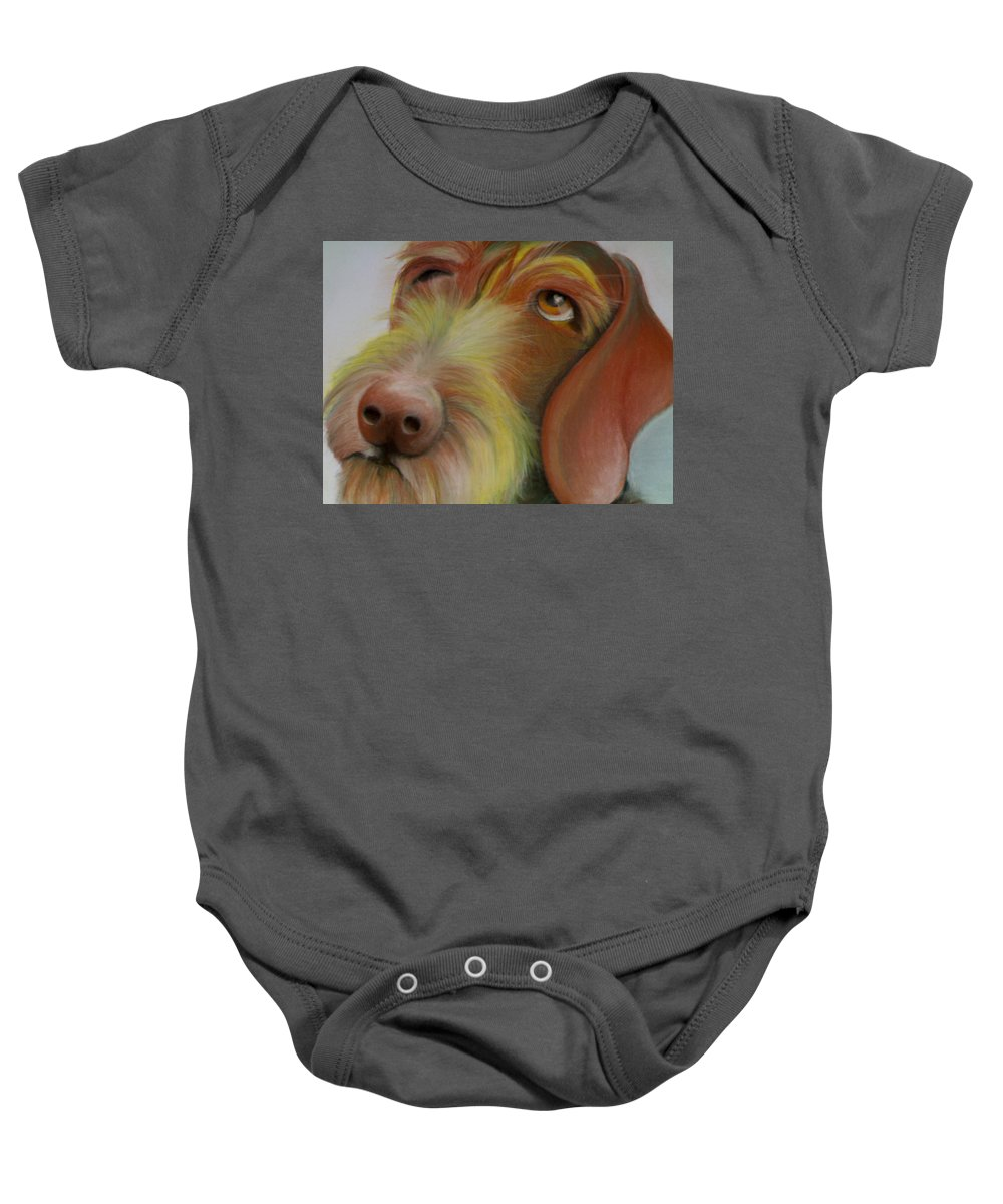 Drahthaar Baby Onesie featuring the painting Drahthaar by Catt Kyriacou