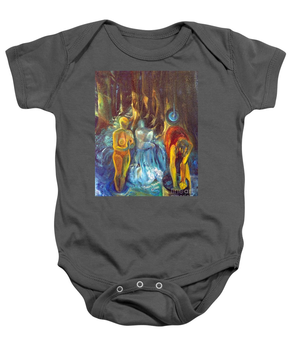 Oil Painting Baby Onesie featuring the painting In The Name Of The Mother Sister Daughter by Daun Soden-Greene