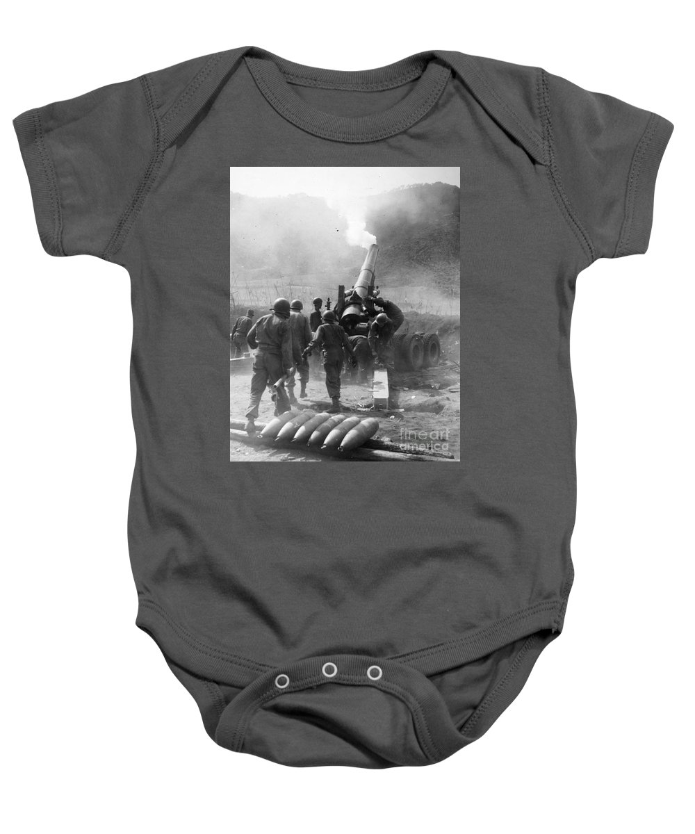 1951 Baby Onesie featuring the photograph Korean War: Artillery by Granger