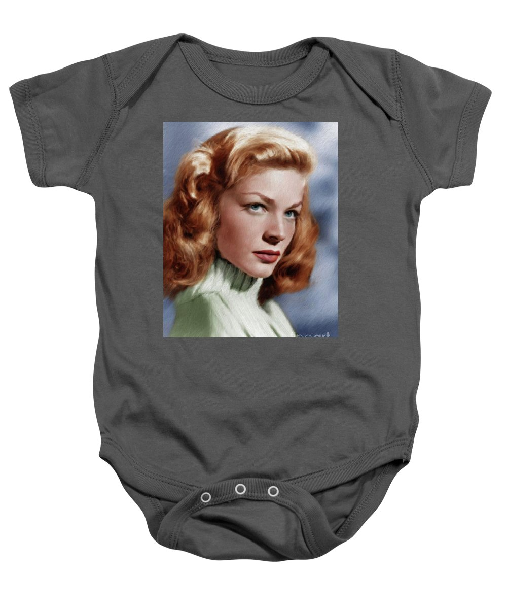 Lauren Baby Onesie featuring the painting Lauren Bacall, Vintage Actress by Mary Bassett