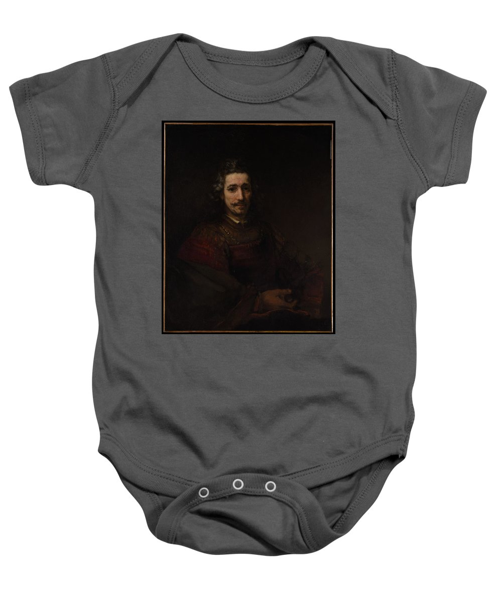 Rembrandt Man With A Magnifying Glass Baby Onesie featuring the painting Man With A Magnifying Glass by Rembrandt