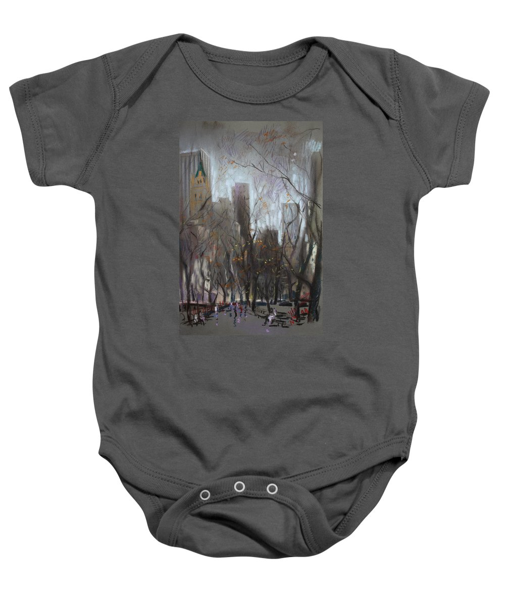 Ny City Baby Onesie featuring the pastel Nyc Central Park by Ylli Haruni