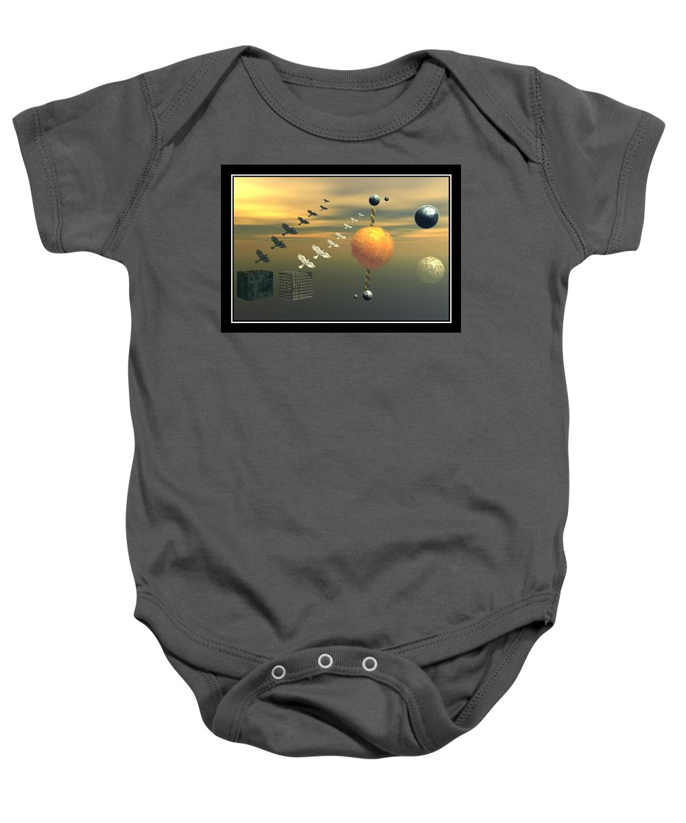 Ying And Yang Earth Planets Doves Sun Cages Metal Sky Surreal Surrealism Surrealist Art Prin Poster Painting Photo Composition Canvas Frame William Ballester Baby Onesie featuring the digital art 2 Oposites by William Ballester