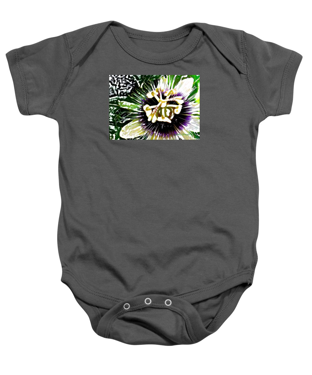 Passion Fruit Flower Baby Onesie featuring the digital art Passion Flower by James Temple