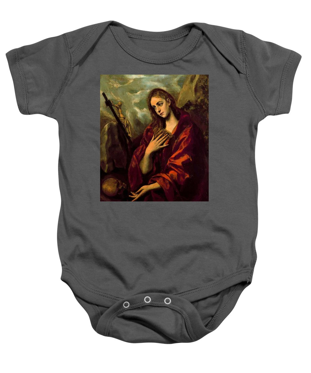 Penitent Baby Onesie featuring the painting Penitent Magdalene by El Greco