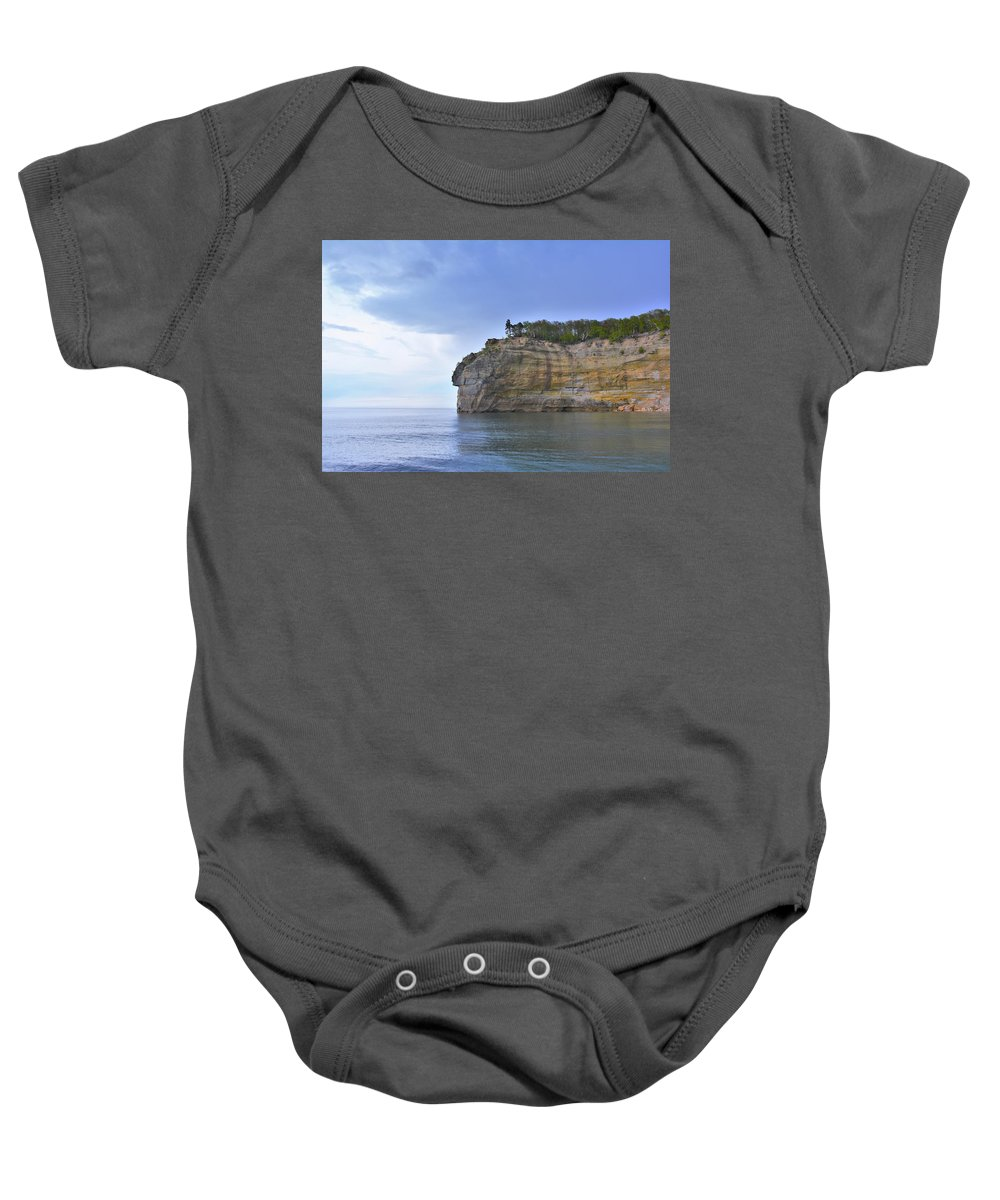Endless Memories Photography Baby Onesie featuring the pyrography Pictured Rocks by Denise Cornetet