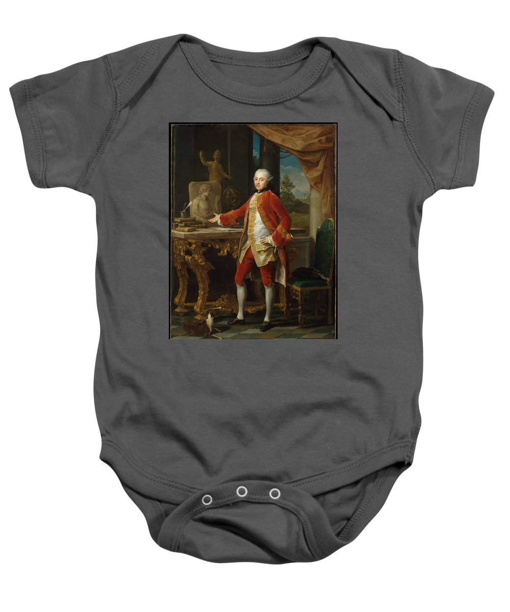 Pompeo Batoni Portrait Of A Young Man Baby Onesie featuring the painting Portrait Of A Young Man by Pompeo Batoni