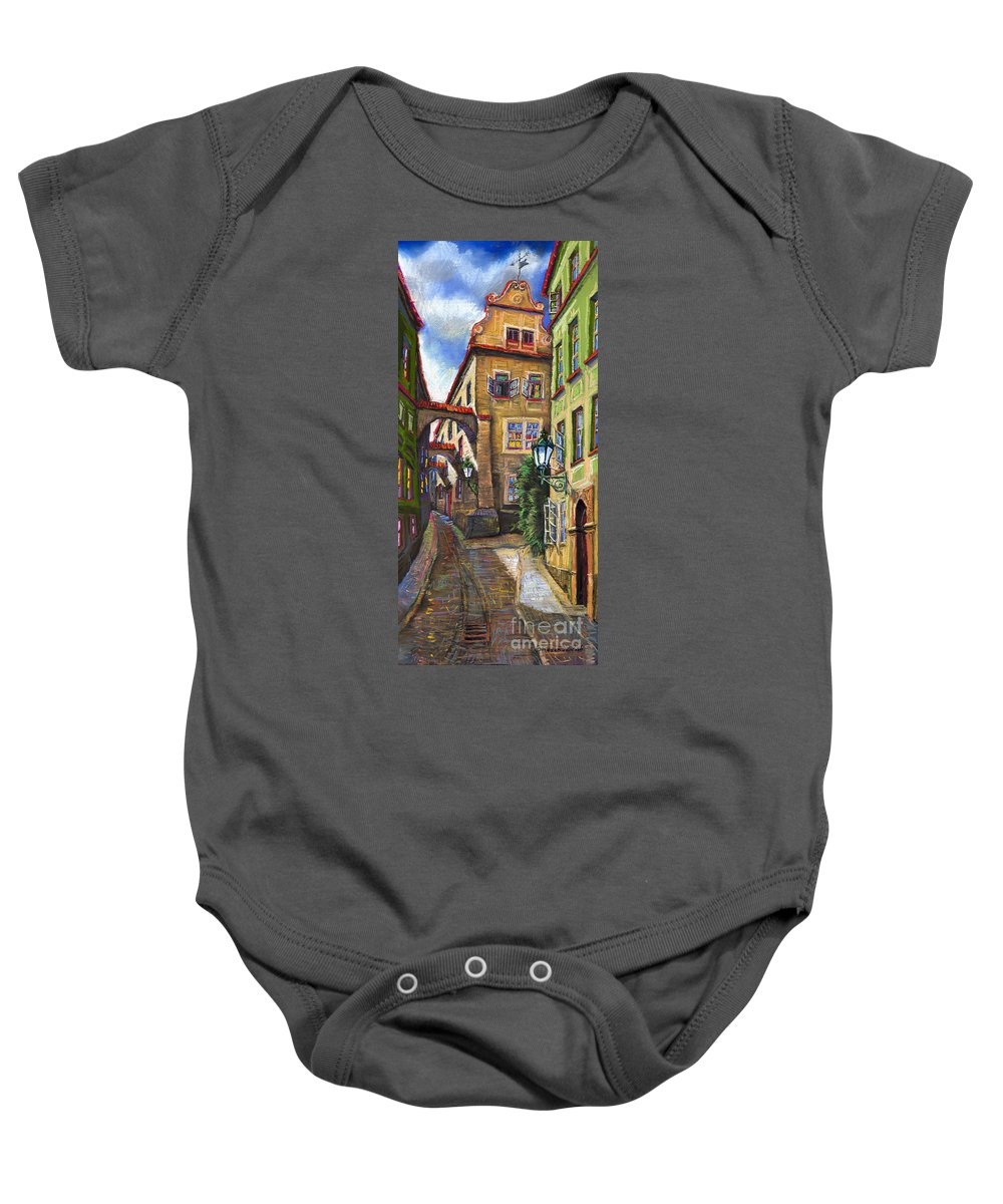 Prague Baby Onesie featuring the painting Prague Old Street by Yuriy Shevchuk