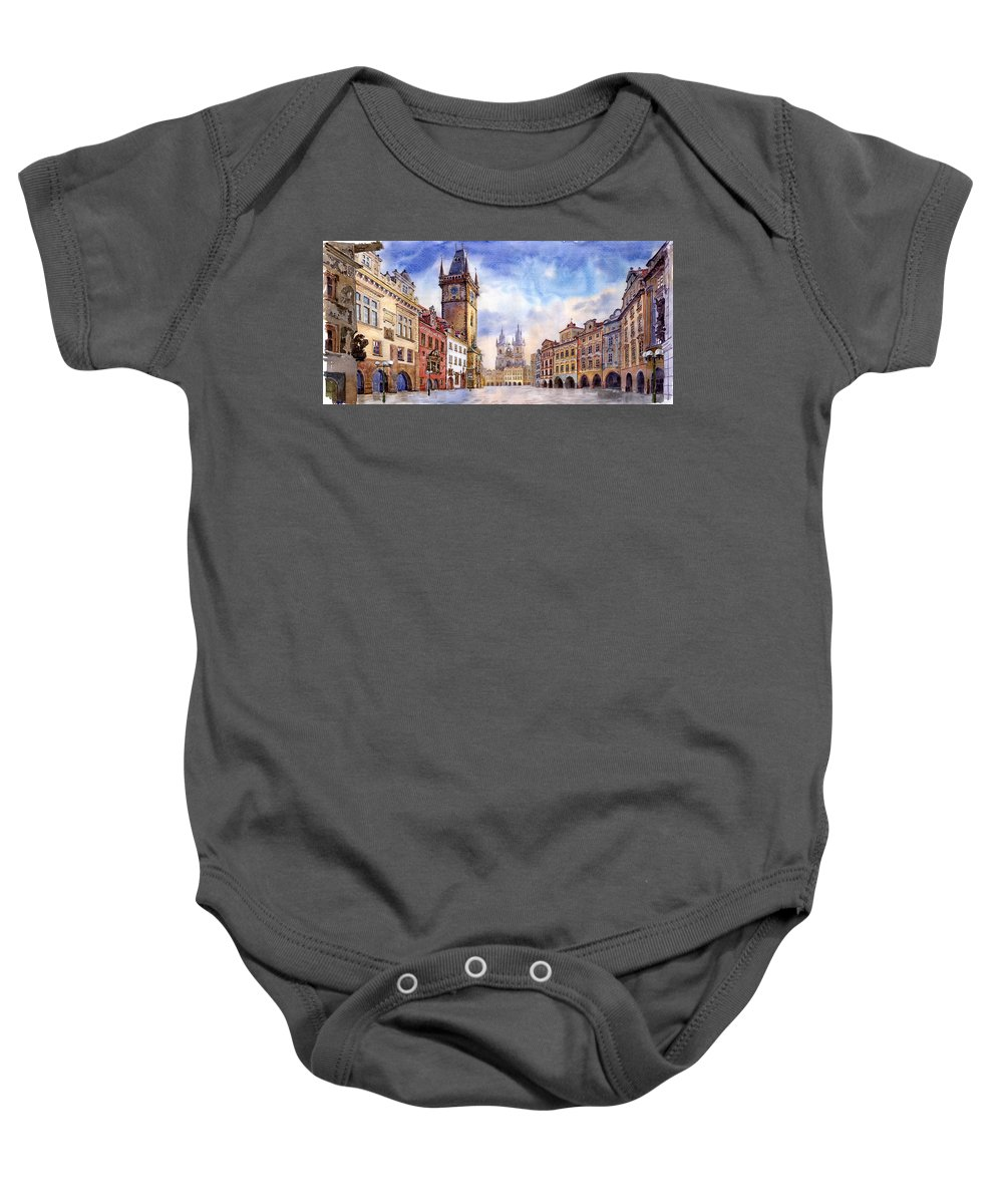 Watercolour Baby Onesie featuring the painting Prague Old Town Square by Yuriy Shevchuk
