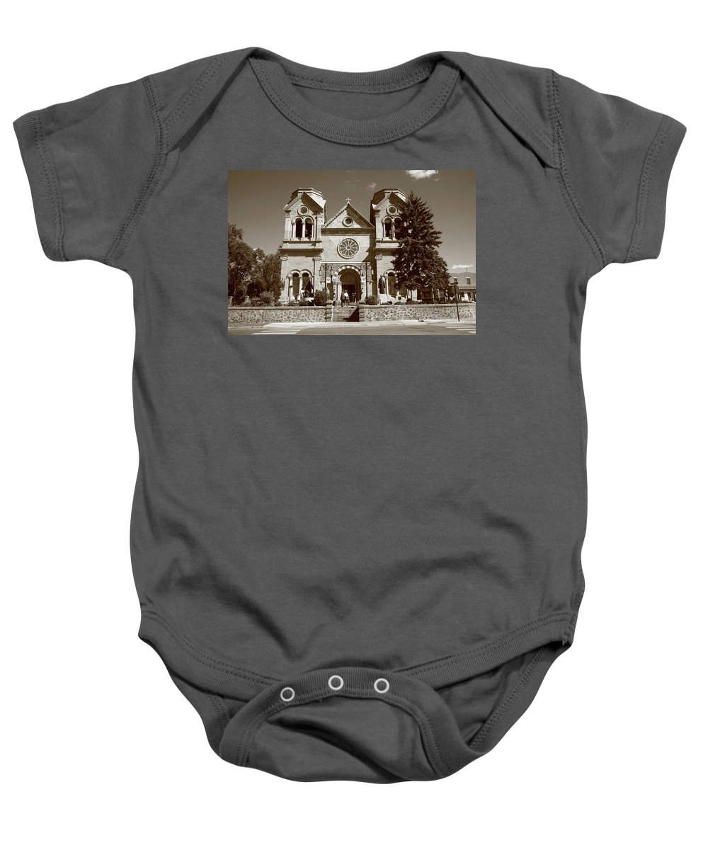 America Baby Onesie featuring the photograph Santa Fe - Basilica Of St. Francis Of Assisi by Frank Romeo