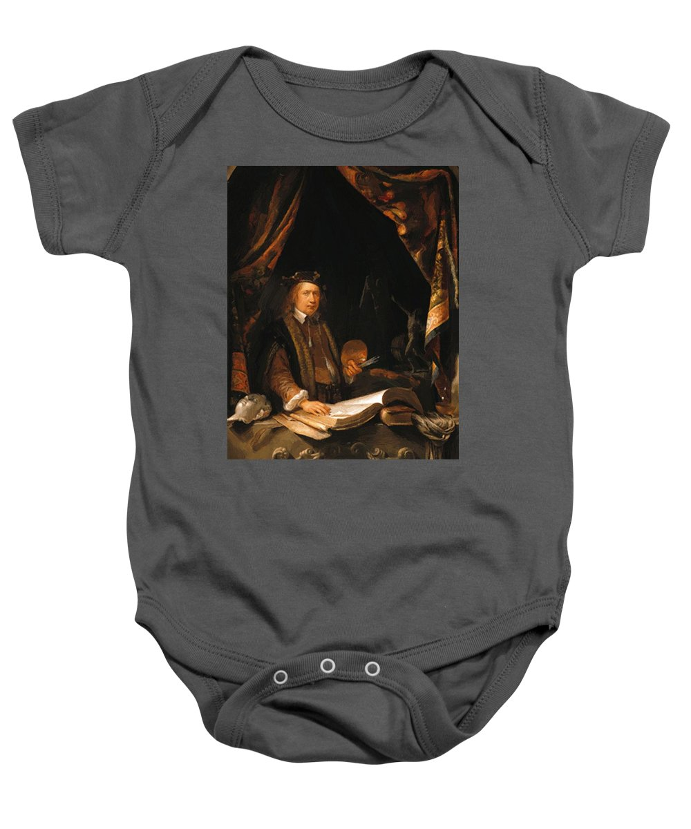 Self Baby Onesie featuring the painting Self Portrait by Dou Gerrit