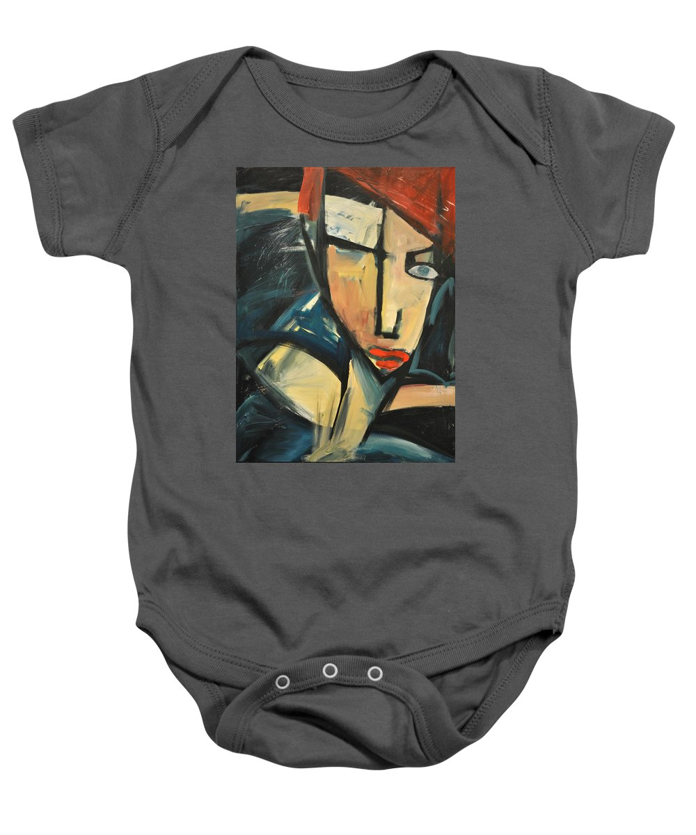 Woman Baby Onesie featuring the painting Simone by Tim Nyberg