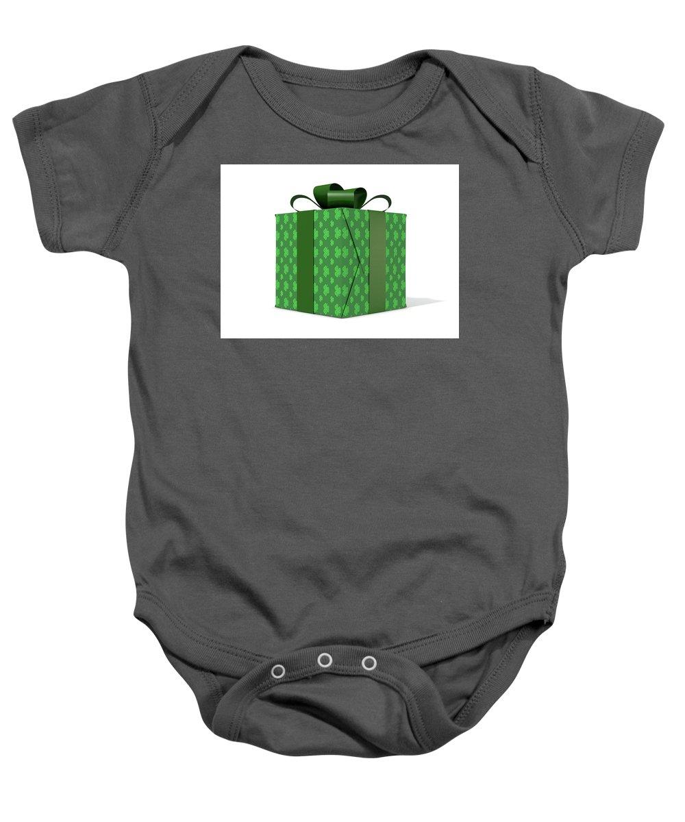 Present Baby Onesie featuring the digital art St Patricks Day Cube Gift by Allan Swart