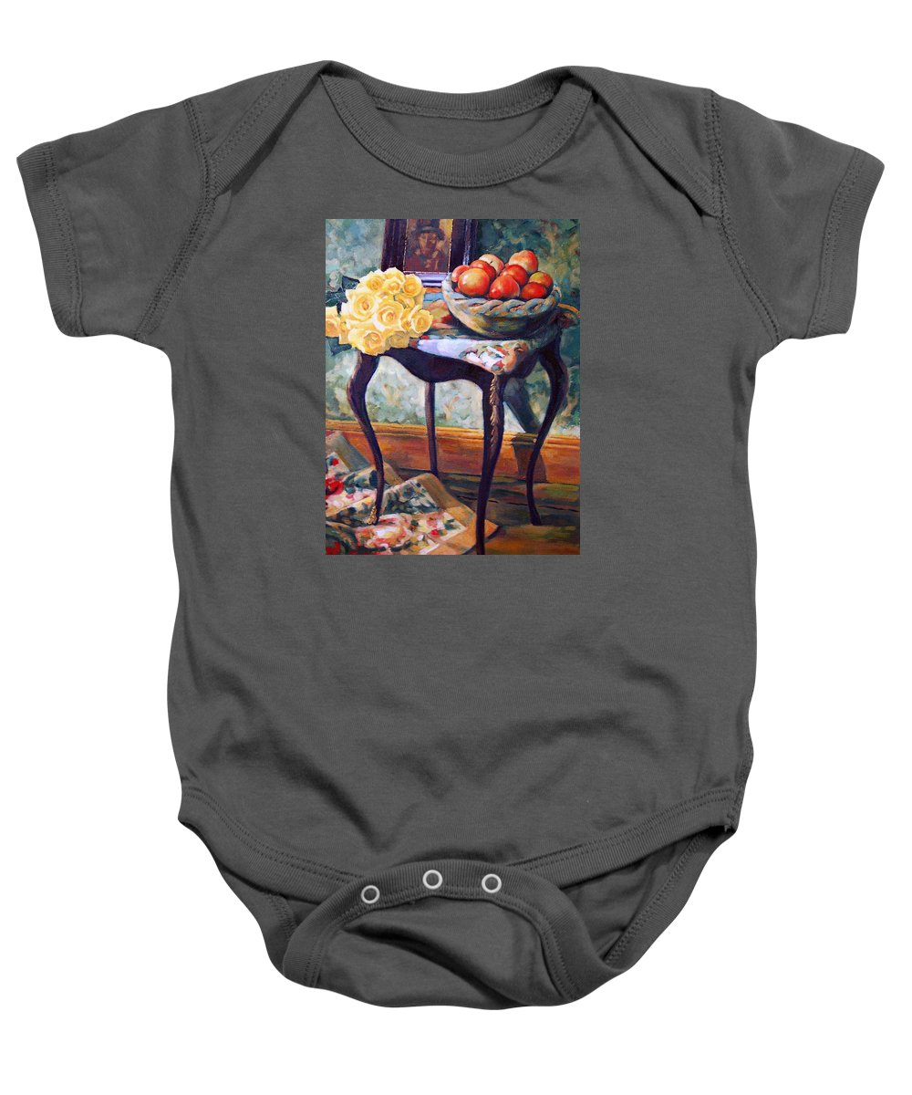 Still Life Baby Onesie featuring the painting Still Life With Roses by Iliyan Bozhanov