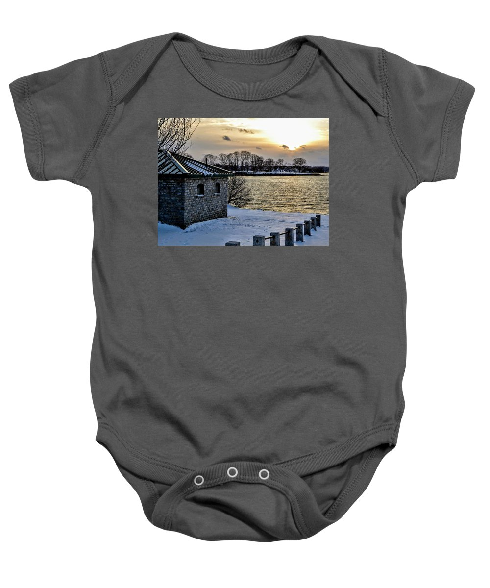 Sunset Baby Onesie featuring the photograph Sunset Over Obear Park In Snow by Scott Hufford
