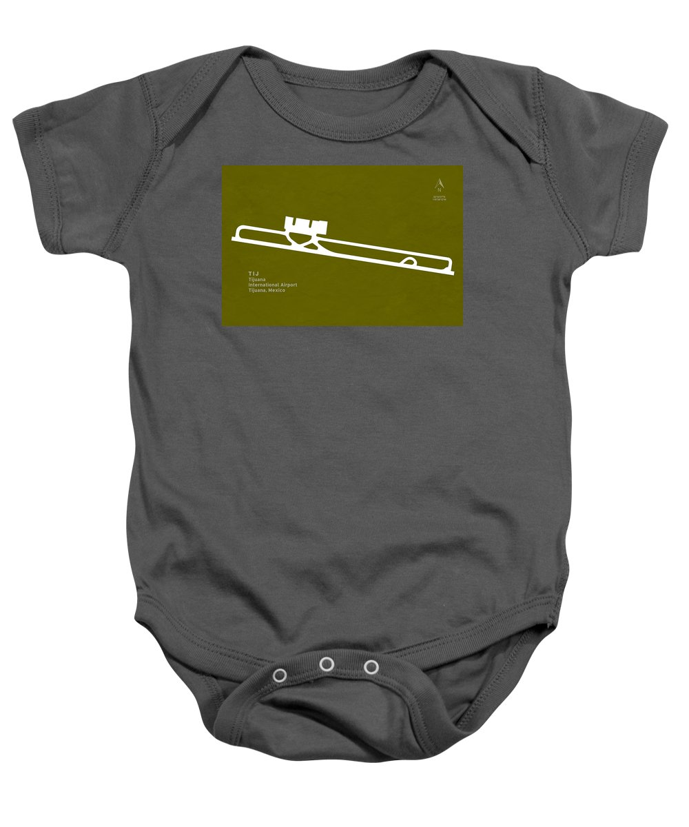 Silhouette Baby Onesie featuring the digital art Tij Tijuana International Airport In Tijuana Mexico Runway Silho by Jurq Studio