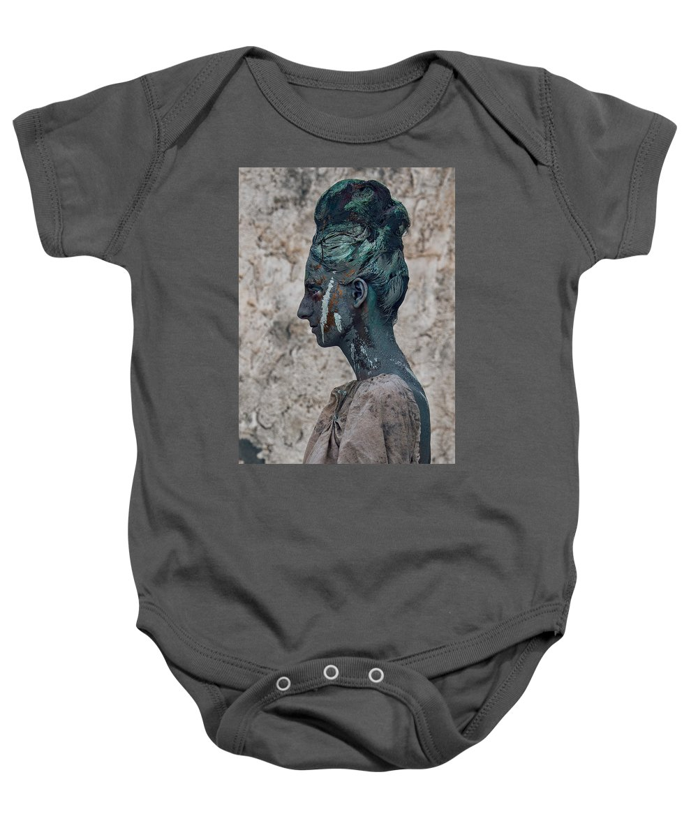Antik Baby Onesie featuring the photograph Woman In Bronze Statue Look With Patina Body Paint by Veronica Azaryan