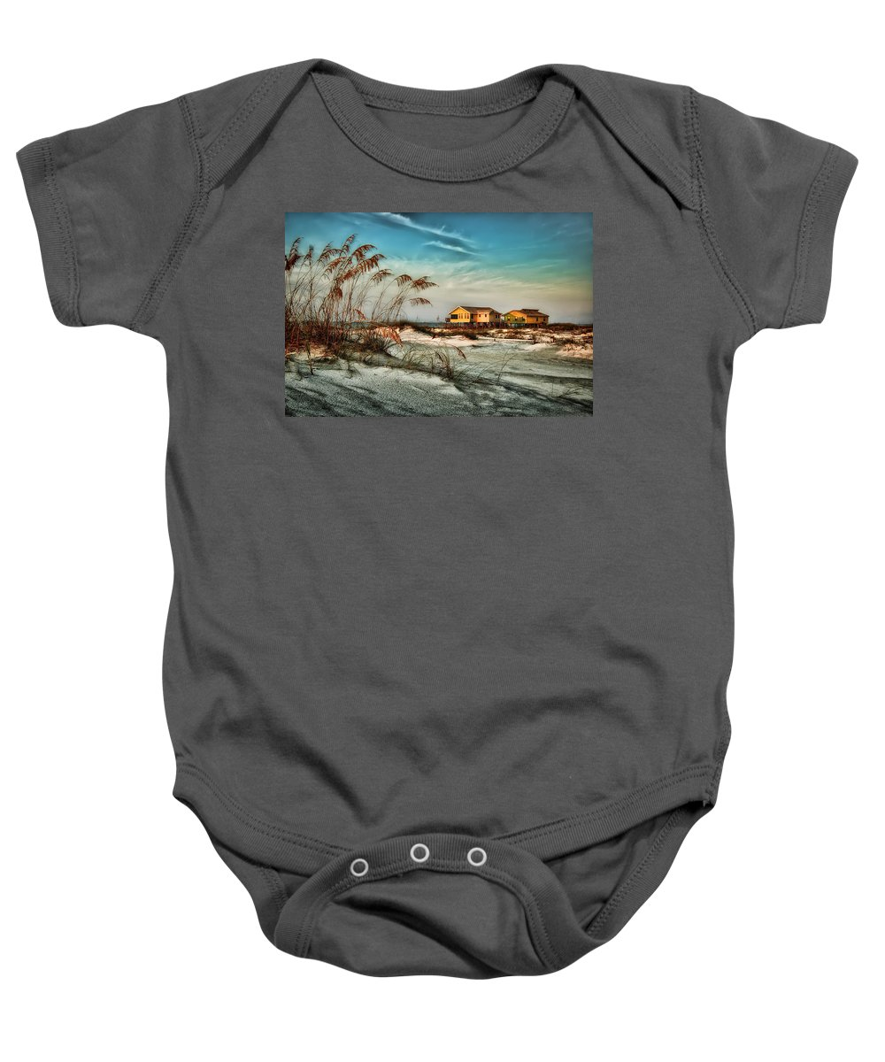 Alabama Baby Onesie featuring the photograph 2 Yellow Beach Houses At Mobile Street by Michael Thomas