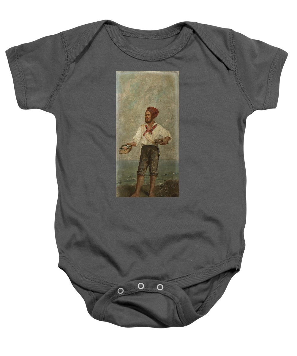 European School Of 19th Century  Baby Onesie featuring the painting Young Fisherman In The Gulf With Capri At A Distance by MotionAge Designs