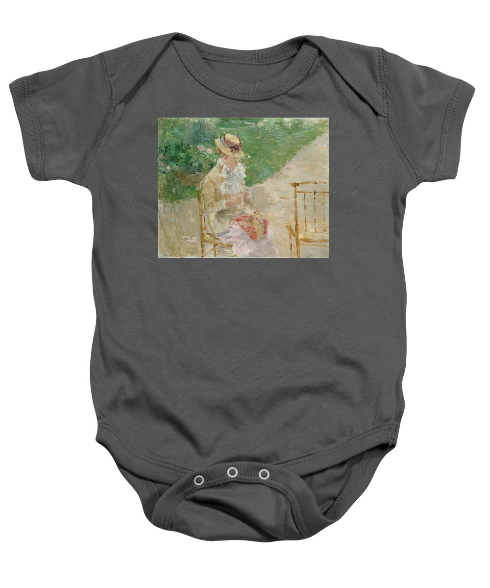 Young Woman Knitting Baby Onesie featuring the painting Young Woman Knitting by Berthe Morisot