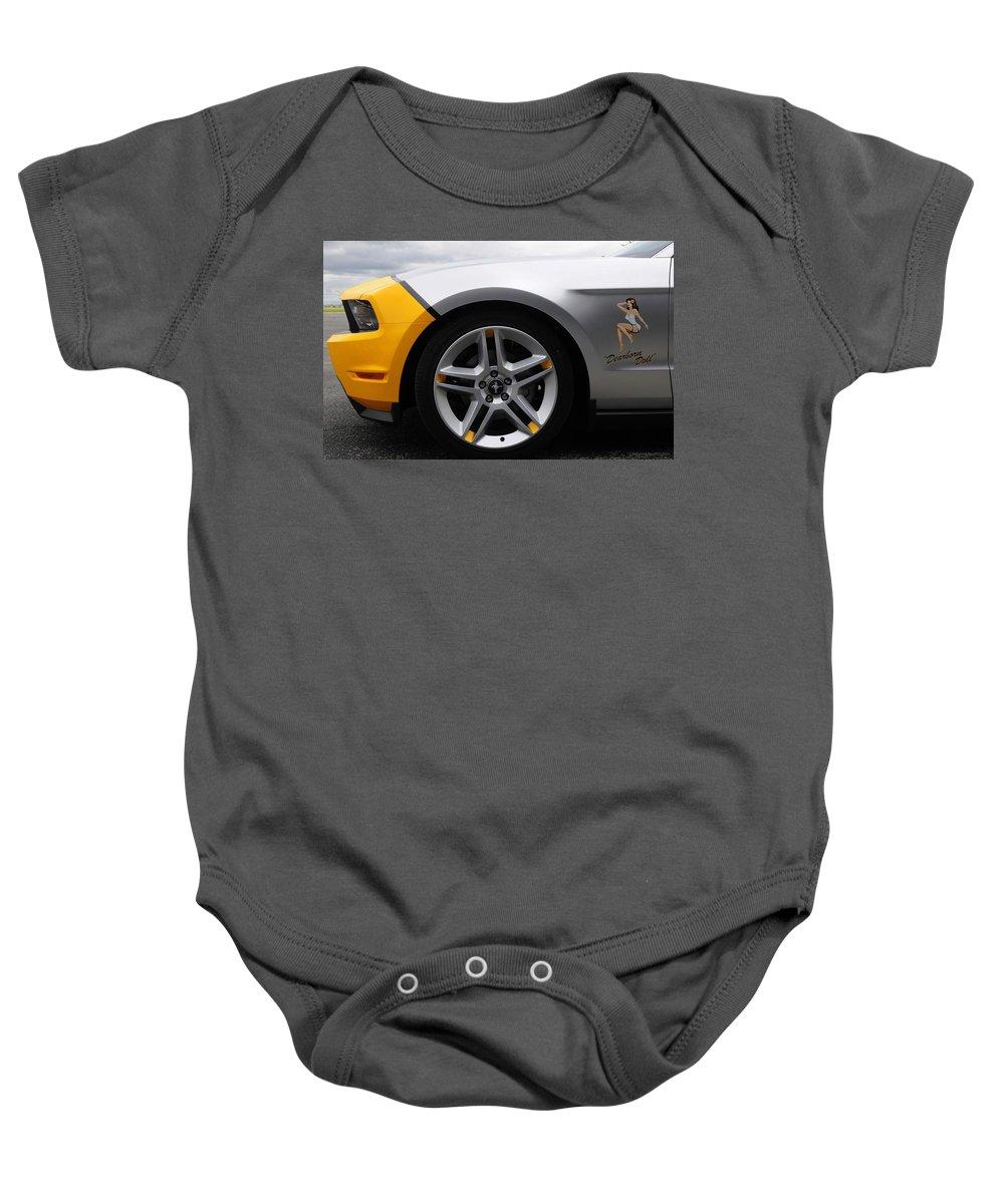 Baby Onesie featuring the digital art 2010 Ford Mustang Av X10 2 by Alice Kent