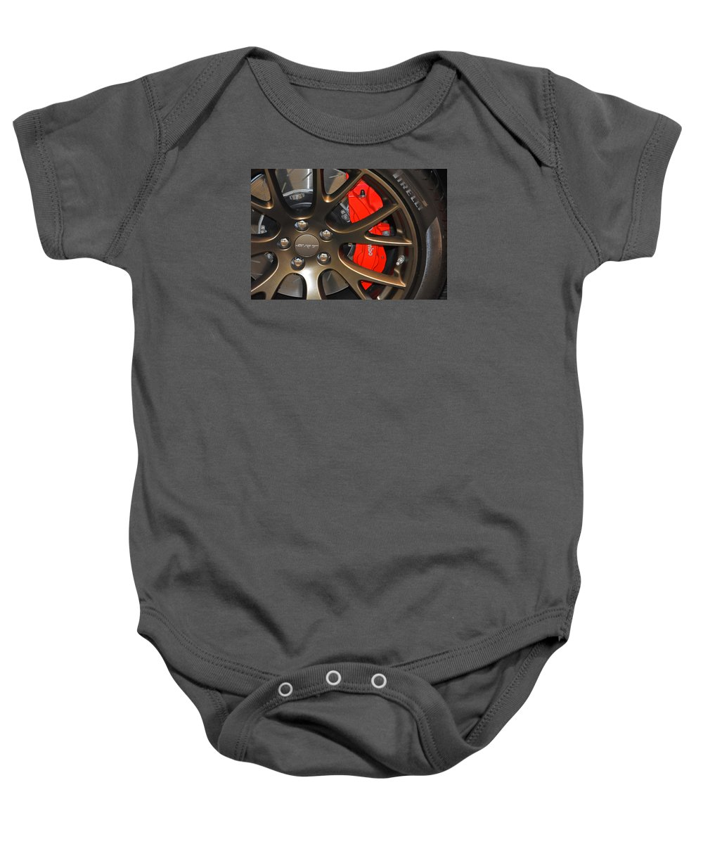 2015 Baby Onesie featuring the photograph 2015 Dodge Challenger Srt Hellcat Wheel by Mike Martin
