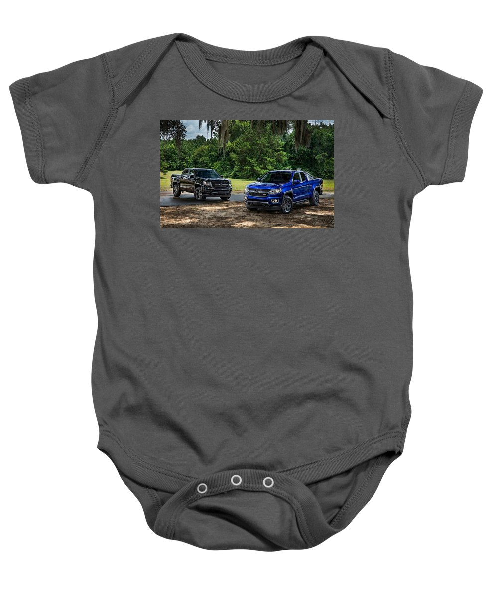 Baby Onesie featuring the digital art 2016 Chevrolet Colorado Midnight Edition Trail Boss by Alice Kent
