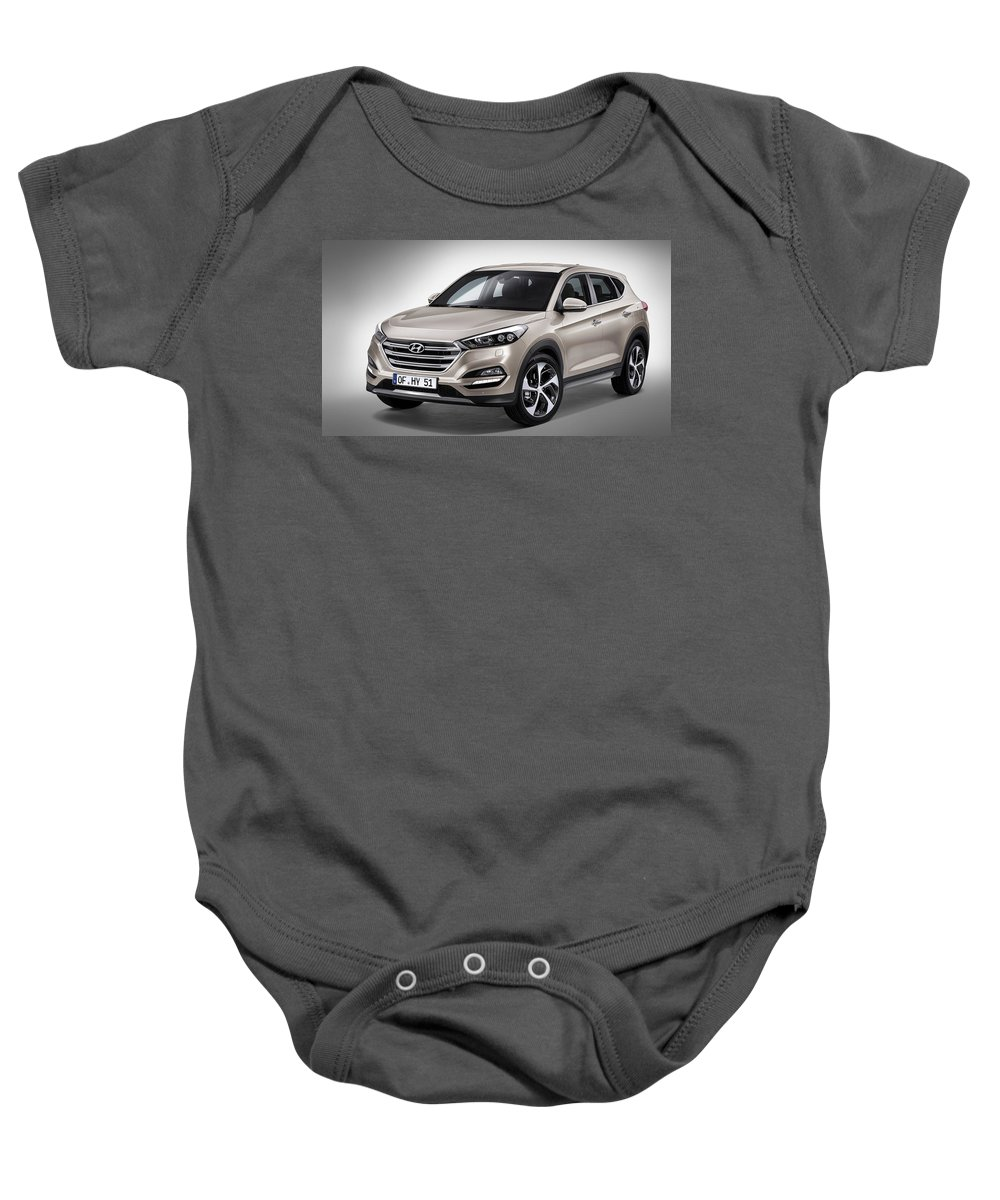 Baby Onesie featuring the digital art 2016 Hyundai Tucson by Alice Kent
