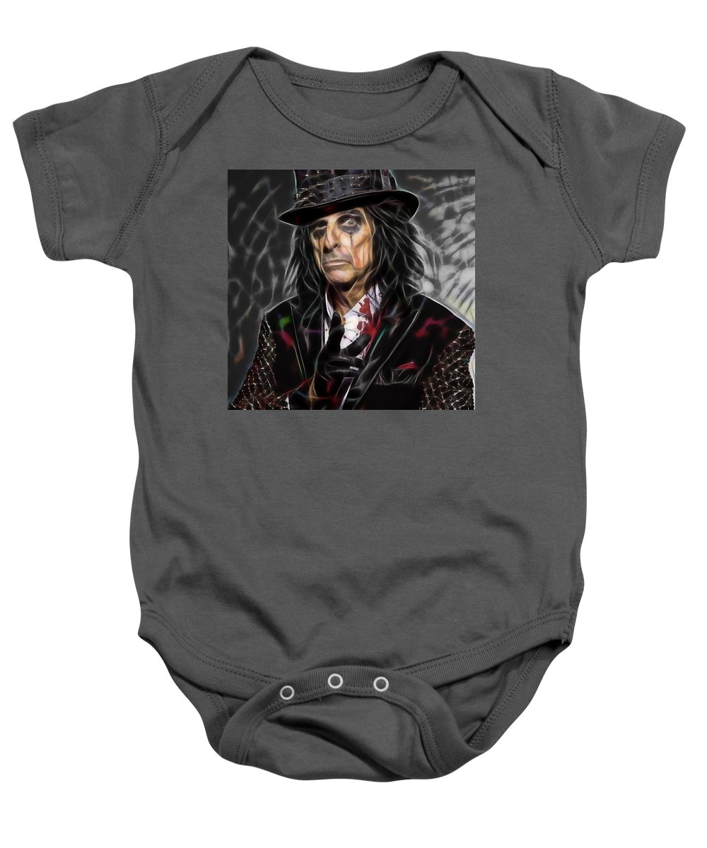 Alice Cooper Baby Onesie featuring the mixed media Alice Cooper Collection by Marvin Blaine